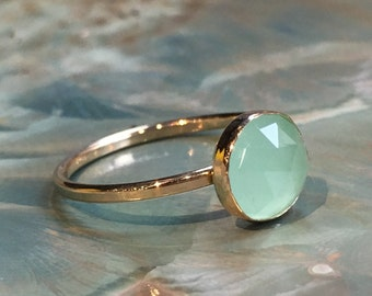 RESERVED for MARKIE - 14 mm jade - Gold Filled ring, thin stacking ring, customised ring, dainty ring, simple stone ring - Thrill R2482