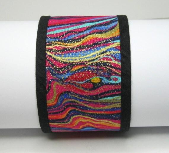 FABRIC CUFF BRACELET: In beautiful marble effect fabric. Medium to large. Hand sewn.