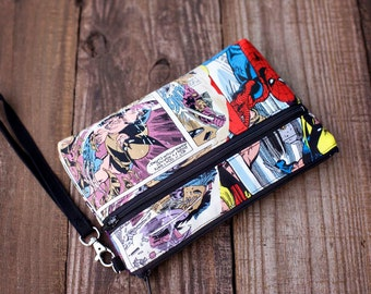 Marvel Comic Wristlet with removable strap - punk rock