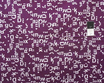 Cloud 9 Typography Helvetica Burgundy Certified Organic Cotton Fabric By Yard