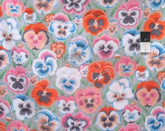 20% OFF SALE Philip Jacobs PWPJ076 Pansies Grey Cotton Fabric By The Yard