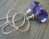 Mystic Violet Convex Briolette Sterling Earrings