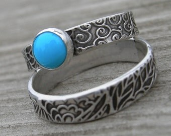 RING SET Turquoise Sterling Silver Patterned Band AND Stacking Ring December Birthstone Size Eight 8