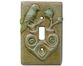 Ceramic Light Switch Cover- Heart Design Single Toggle in Tan Emerald Glaze