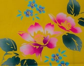 "Japanese Cotton Yukata Fabric Golden Floral 39"" inches"