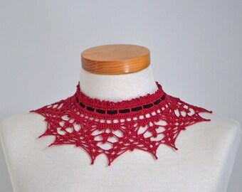 Lace crochet choker, red cotton, black suede ribbon, P500