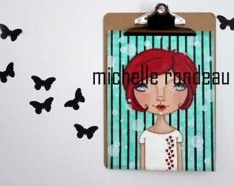 Original Mixed Media Red Hair Girl Painting Art Journal