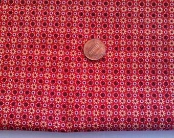 Civil War Reproduction Print Cotton Quilt Fabric Turkey Red & Gold