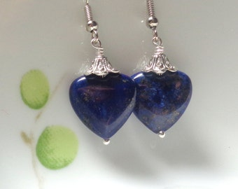 Lapis Earrings, Lapis Lazuli Earrings, Blue Earrings, Dangle Earrings, Stone Earrings, Heart Earrings, Blue heart Earrings