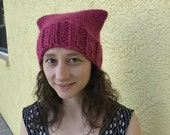 warm chunky knit pussy hat : all proceeds to Planned Parenthood