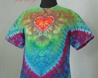 tie dye shirt, medium heart with crest ice dye, arrow back ice dye, tye dye t shirt by GratefulDan, heady dyes