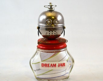KEEPER of the DREAM JAR, Assemblage Art Recycled Robot Sculpture