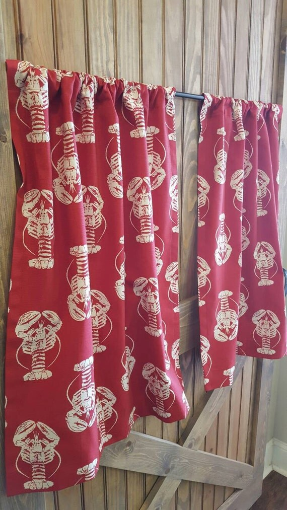 Red Lobster Kitchen Cafe Curtains 2 Panels 1 Pair Custom