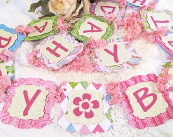 Happy Birthday Banner w/ribbons - Garland Bunting - Girl Teen Tween Birthday Banner Decorations