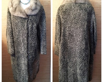 Vintage Platinum Persian Lamb Coat with Mink Collar / Winter Wedding