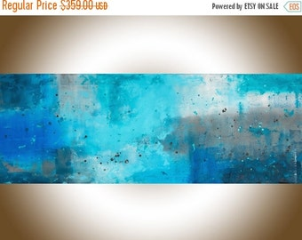 """Turquoise blue abstract art Painting on canvas Extra Large wall art abstract painting original artwork blue homedecor """"The Mist"""" by QIQI"""