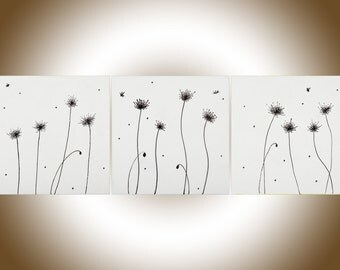 Dandelions painting black and white art wall decor wall art canvas art heavy texture Palette Knife painting by QiQiGallery