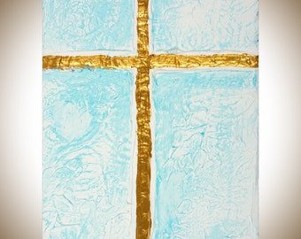 "Cross Sign gold blue Acrylic painting wall hangings wall decor abstract heavy texture impasto home decor ""Cross"" by QIQIGallery"