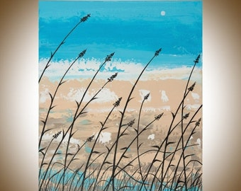 "Abstract painting beach painting original artwork seascape shabby chic home decor Canvas Art wall art ""Life on beach"" by QiQiGallery"