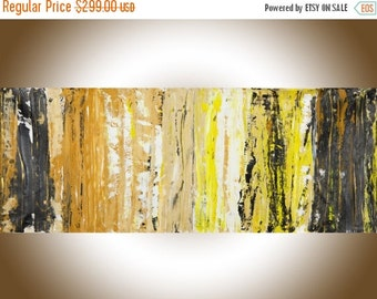 """Abstract painting 60"""" large wall art Canvas art brown yellow Gold black white painting gift for men""""Treasure Hunt"""" by qiqigallery"""