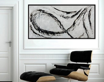 Large Abstract grey black painting, arrow art Original artwork wall art wall decor grey decor acrylic Impasto modern art by QiQiGallery