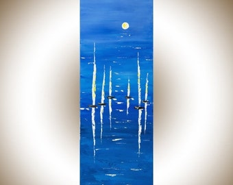 Sail boat moon painting original artwork blue white abstract seascape palette knife painting wall art wall Decor wall hanging by qiqigallery