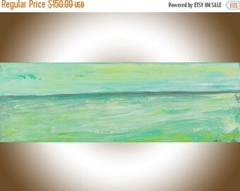 Abstract seascape painting original art green grey white painting on canvas wall art wall Decor home decor wall hanging by qiqigallery