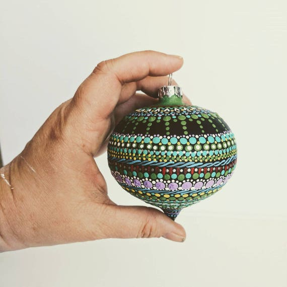 Glass ornament: hand painted Onion shaped glass ornament dot Painting colorful painted ornament