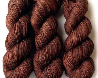 Hand Dyed Yarn Merino Mulberry Silk Sock Yarn, Nutella