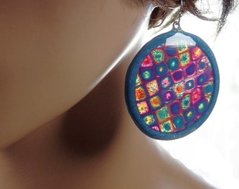 Translucent polymer clay earrings, abstract pattern