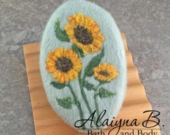 Felted Goat Milk Soap - Sunflowers Theme Scented with a Fresh Picked Garden Herb and Floral Fragrance
