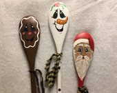 Set of 3 Hand-Painted Wooden Spoons