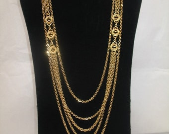 Beautiful Vintage Multi Strand Gold Chain Necklace