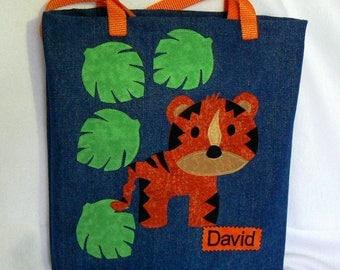 Tiger Safari Animal Tote Bag|Personalized Tote Bag|Preschool Bag|Toddler Bag|Daycare Bag|Easter Gift Bag|Library Book Bag|Denim Tote Bag