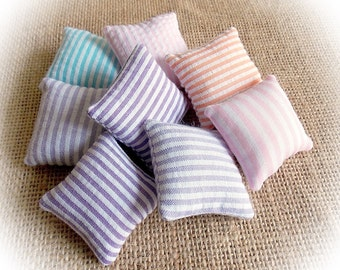 Spring Sale..Cotton Dollhouse Pillows..Miniature Cushions Striped in Seersucker or Cotton.. Dolls' House Cushions...Selection of Colours