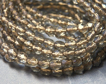 Gold Lined Smoky Topaz 6mm Faceted Glass Czech Round Beads (30) 091