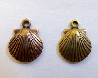 Brass or Copper Clam Shell Charms with loop,  8mm   (6)