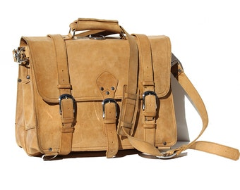 Men's Tan Leather Briefcase Convertible Backpack Bag