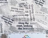CRAB Shack NEWSPRINT News WHITE Quilt Fabric - by the Yard, Half Yard, or Fat Quarter Fq Crabs Coastal Tablecloth Napkin Fabric Beach Summer