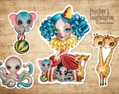Set of 4 Clown Girl Die Cut Vinyl Stickers, Circus Stickers, Snail Mail, Pen Pal