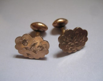 Antique Gold Topped Floral Engraved Victorian Cufflinks Excellent Condition
