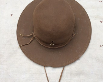 vintage ca. 1940s Official Boy Scouts of America wide brim wool felt hat