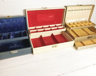 Set of 3 Vintage Jewelry Boxes- Blue, Gold, Off White- Large, Display, Storage, Jewel Tone