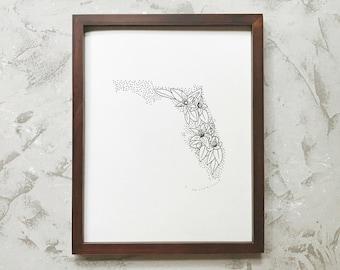 Florida> Orange Blossom> State Flower Drawing> Giclee Print