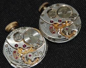 Vintage Antique tiny Round Waltham Watch Movements Steampunk Altered Art Assemblage Industrial R 44