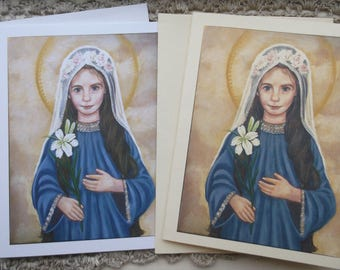 Our Lady at 3 being Presented in the Temple, Stationary Cards on 110lb White and Ivory Card Stock, Taken from my Original Acrylic Painting