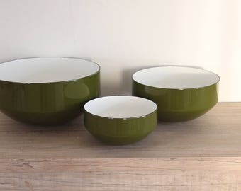 Green Copco Enamel Michael Lax Nesting Bowls Switzerland (Set of 3)