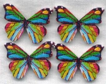 Blue Rainbow Butterfly Wood Buttons Butterflies Wooden Buttons 25mm (1 inch) Set of 8 /BT408F