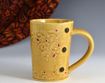 Medium Tea Cup Mug Paisley Pattern, tea cup, tea mug, Buttons READY TO SHIP