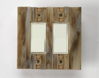 Decorative Light Switch Cover, Light Switch Plate, Brown Wall Plate, Stained Glass Switchplate, Double Decora Lightswitch, Outlet, 8413